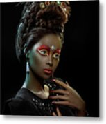 Woman With Beehive Hairstyle And Jewelry Headdress Metal Print