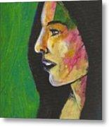 Woman With Black Lipstick Metal Print