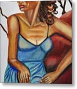 Woman With Curly Hair Metal Print