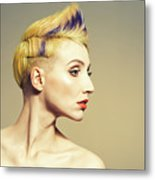 Woman With Funky Hairstyle Metal Print