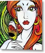 Woman With Glass Metal Print