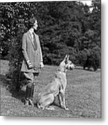 Woman With Great Dane, C.1920-30s Metal Print