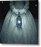 Woman With Lantern Metal Print