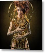 Woman With Messy Curl Updo In Golden Attire Metal Print