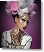 Woman With Pink And White Headpiece In White Dress Metal Print