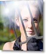 Woman With Pitchfork Metal Print