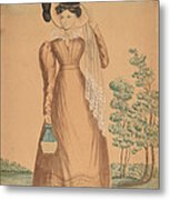 Woman With Plumed Hat Metal Print