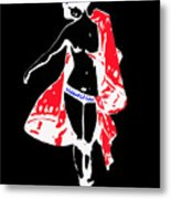 Woman With Red Cape - And Not Much Else Metal Print