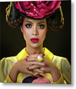 Woman With Red Flower Headdress Metal Print