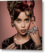 Woman With Ring Headdress And Bouffant Hairstyle Metal Print