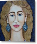 Woman With Silver Earrings Metal Print