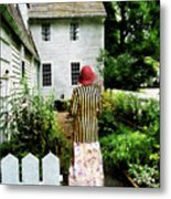 Woman With Striped Jacket And Flowered Skirt Metal Print