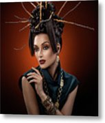 Woman With Twig Headdress And Oriental Look Metal Print