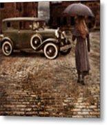 Woman With Umbrella By Vintage Car Metal Print