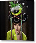 Woman With Yellow Dress With Feather And Leaf Headdress Metal Print