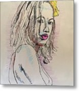 Woman With Yellow Flower Metal Print