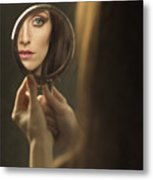 Woman's Face In The Mirror Metal Print