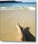 Womans Legs Relaxing Metal Print by Kicka Witte - Printscapes