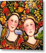 Women And Hats With Bird Metal Print