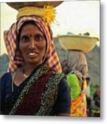Women Carrying Goods On Their Heads H A Nv Metal Print