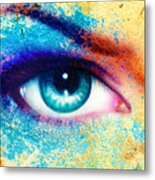 Women Eye Color Rust Effect Painting Collage Violet Makeup. Metal Print