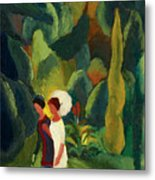 Women In A Park With A White Parasol Metal Print
