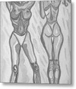 Women In Shower In Grey Metal Print