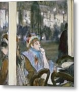 Women On A Cafe Terrace Metal Print by Edgar Degas