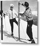 Women Waxing Skis Metal Print