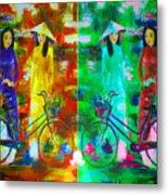Women With Bike Metal Print