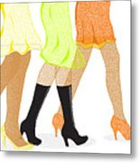 Womens Leg Dots Metal Print