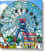 Wonder Wheel Amusement Park 6 Metal Print