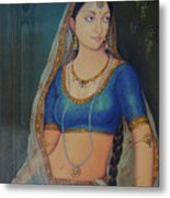 Wonderful Portrait A Lonely Queen Is Waiting For Her Husband To Return From Battle Oil Painting  Metal Print