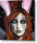 Wonderland Girls - Bunny Ears Close Up Metal Print