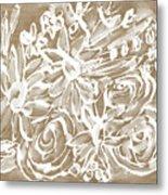 Wood And White Floral- Art By Linda Woods Metal Print