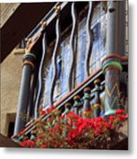 Wood Beams Red Flowers And Blue Window Metal Print