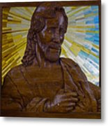 Wood Carving Of Jesus Metal Print
