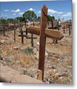 Wood Crosses In Taos Cemetery Metal Print