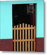 Wood Gate In A Door Metal Print