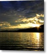 Wood Lake Sunburst Metal Print