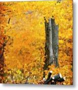 Wood Pile In Autumn Metal Print
