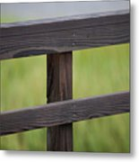 Wood Railing Over The Marsh Metal Print