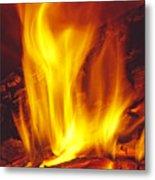 Wood Stove - Blazing Log Fire Metal Print