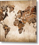 Wood World Map Metal Print by Delphimages Photo Creations