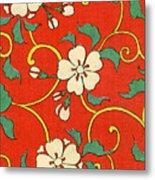 Woodblock Print of Apple Blossoms Metal Print