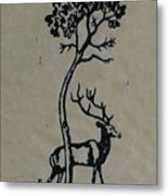 Woodcut Deer Metal Print