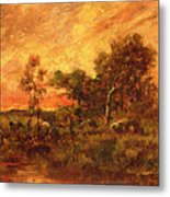 Wooded Landscape With A Faggot Gatherer Metal Print