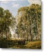Wooded Landscape With A Group Of Figures In Costume Metal Print