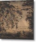 Wooded Landscape With Rainbow Metal Print