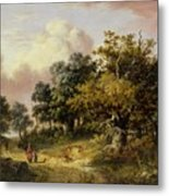 Wooded Landscape With Woman And Child Walking Down A Road  Metal Print
